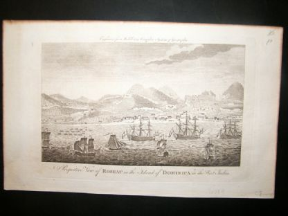 Middleton 1779 Folio Print. Perspective view Roseau, Dominica West Indies Ships | Albion Prints